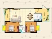 惠泽公园1号B户型2室2厅1卫1阳台95.88㎡