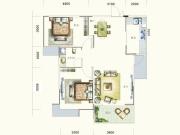 盛世龙城D2户型2室2厅1卫1阳台102.64㎡