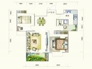 盛世龙城F3户型2室2厅1卫1阳台94.72㎡