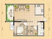 黄金海岸C户型2室1厅1卫1阳台79.24㎡