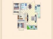 金色港湾A1户型3室2厅1卫1阳台84㎡