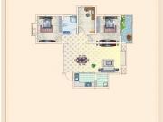 金色港湾A1户型3室2厅1卫1阳台98㎡