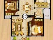 铸邦巴黎岛C2户型2室2厅1卫88.1㎡