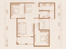 亿科红郡9/10#B户型2室2厅1卫 90.26㎡