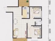 山水龙城C户型2室2厅1卫82.52㎡