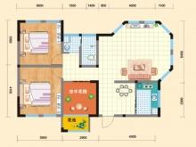 亿科红郡2#-C户型2室2厅1卫 105.38㎡
