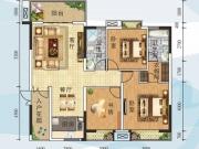全兴星湖湾C1户型3室2厅2卫123.62㎡