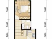 朗琴国际H户型1室1厅1卫41.08㎡