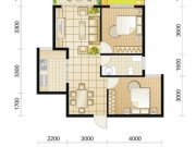 朗琴国际H1户型2室2厅1卫81.95㎡