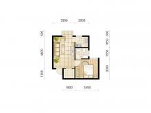 东城华府D2户型1室1厅1卫 42.17㎡