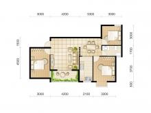 东城华府D6户型3室2厅1卫 99.60㎡