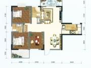 卧龙城D户型3室2厅2卫105.32㎡