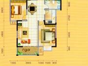 永美星城4期C户型2室2厅2卫1阳台88.92㎡
