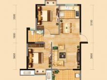 兴丽城A3户型2室2厅1卫1阳台 86.45㎡