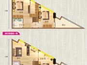 大美盛城积家广场G户型2室2厅2卫2阳台60㎡