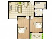 汉江画苑户型2室1厅1卫1阳台105㎡