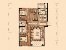 卢浮宫3户型3室2厅2卫1阳台 121.1㎡