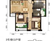 唐城中岳汇C2户型2室2厅1卫 58.33㎡
