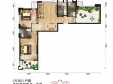 唐城中岳汇C1户型2室2厅2卫 95.8㎡