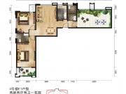 唐城中岳汇E1户型2室2厅2卫102.03㎡