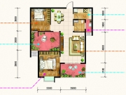 锦绣翰林96户型3室2厅1卫1阳台96㎡