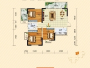 裕洋未来城A1户型3室2厅1卫107.75㎡