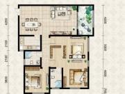 翱达公馆6户型3室2厅2卫1阳台126.95㎡