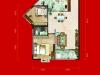 C1户型2室2厅2卫 85.41㎡