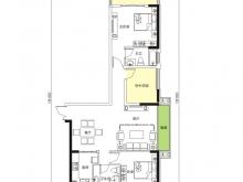 天麟汇景园户型2室2厅2卫2阳台 119.35㎡