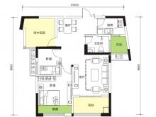 天麟汇景园户型2室2厅1卫1阳台 85.96㎡