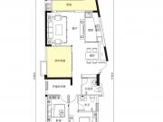 天麟汇景园户型2室2厅2卫2阳台115.72㎡