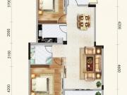 道和天下5#-2户型2室1厅1卫1阳台96.53㎡