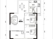 风神水齐乐业城3户型2室2厅1卫1阳台81.62㎡