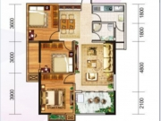 风神水齐乐业城4户型3室2厅1卫1阳台96.34㎡