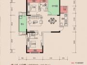 天麟时代经典7-4户型2室2厅2卫1阳台106.02㎡