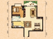 泰康花园7-C户型2室2厅1卫1阳台70.23㎡