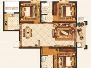 外滩1号B-1户型3室2厅2卫1阳台115.36㎡