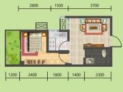 建地·堰岚山B户型1室1厅1卫1阳台40.75㎡