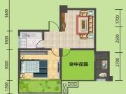 建地·堰岚山D户型2室1厅1卫1阳台58.2㎡