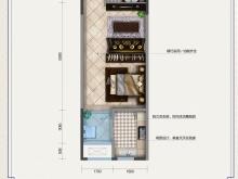 金色礼赞2-C户型1室1厅1卫1阳台 43.52㎡