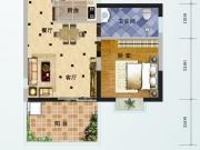 芙蓉华府E-1户型1室2厅1卫1阳台62.89㎡