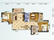 芙蓉华府E-2户型3室2厅1卫1阳台110.82㎡