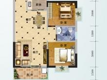 芙蓉华府D-2户型2室2厅1卫1阳台 80.61㎡