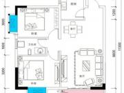 恒融枫尚城2户型2室2厅1卫1阳台87.18㎡