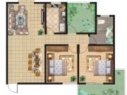 祥安东城国际花园户型3室2厅1卫1阳台106.95㎡