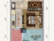 金色礼赞1-D户型1室1厅1卫1阳台41.80㎡
