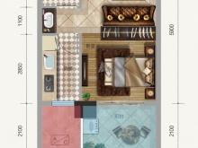 金色礼赞1-D户型1室1厅1卫1阳台 41.80㎡