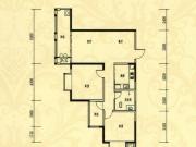 中岳华庭4-5户型2室2厅2卫1阳台99.64㎡