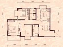 祥安东城国际花园玫瑰苑A户型3室2厅1卫1阳台 92.75㎡