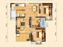 兴丽城C2户型3室2厅1卫1阳台 99.88㎡